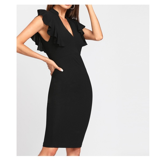 MBM Unlimited Dresses & Skirts - Black V Neck Sleeveless Ruffle Bodycon Midi Dress